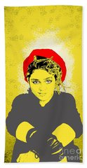 Bath Towel featuring the drawing Madonna On Yellow by Jason Tricktop Matthews