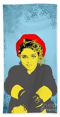 Bath Towel featuring the drawing Madonna On Blue by Jason Tricktop Matthews