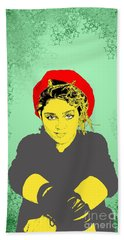 Bath Towel featuring the drawing Madonna On Green by Jason Tricktop Matthews
