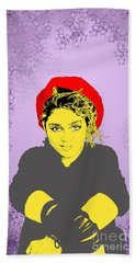 Hand Towel featuring the drawing Madonna On Purple by Jason Tricktop Matthews