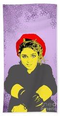 Madonna On Purple Bath Towel by Jason Tricktop Matthews