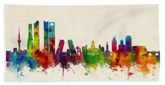 Madrid Spain Skyline Hand Towel by Michael Tompsett