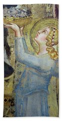 Maesta  Angel Offering Flowers To The Virgin Hand Towel