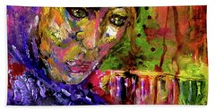 Hand Towel featuring the mixed media Magdalena by Lisa McKinney