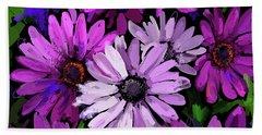 Magenta Flowers Bath Towel
