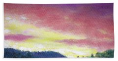 Hand Towel featuring the painting Magenta Sunset Oil Landscape by Judith Cheng