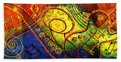 Magic Guitar Bath Towel by Leon Zernitsky