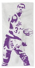 Magic Johnson Los Angeles Lakers Pixel Art Hand Towel by Joe Hamilton