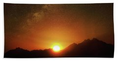 Magical Milkyway Above The African Mountains Hand Towel
