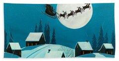 Magical Night - Santa Reindeer Christmas Landscape Hand Towel