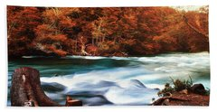Autumnal Landscape With Lake In The Argentine Patagonia Bath Towel