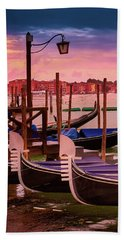 Gondolas And Cityscape At Sunset In Venice, Italy Bath Towel
