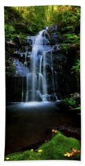 Magical Waterfall Above Spruce Falls In Tremont Smoky Mountains Tennessee  Hand Towel