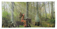Bath Towel featuring the mixed media Magical Woods by Rosalie Scanlon