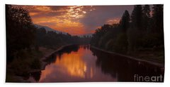 Magnificent Clouds Over Rogue River Oregon At Sunset  Hand Towel