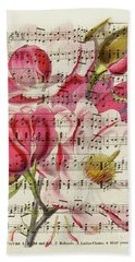 Magnolias And Music Sheet Hand Towel