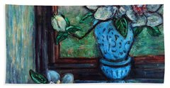 Bath Towel featuring the painting Magnolias In A Blue Vase By The Window by Xueling Zou