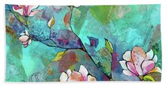 Bath Towel featuring the painting Magnolias by Shadia Derbyshire