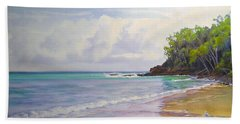 Bath Towel featuring the painting Main Beach Noosa Heads Queensland Australia by Chris Hobel