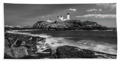 Bath Towel featuring the photograph Maine Cape Neddick Lighthouse In Bw by Ranjay Mitra