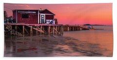 Maine Coastal Sunset At Dicks Lobsters - Crabs Shack Hand Towel