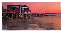 Maine Coastal Sunset At Dicks Lobsters - Crabs Shack Bath Towel