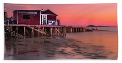 Bath Towel featuring the photograph Maine Coastal Sunset At Dicks Lobsters - Crabs Shack by Ranjay Mitra
