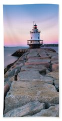 Maine Coastal Sunset Over The Spring Breakwater Lighthouse Hand Towel