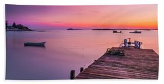Maine Cooks Corner Lobster Shack At Sunset Bath Towel