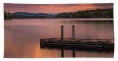 Maine Highland Lake Boat Ramp At Sunset Bath Towel