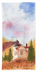 Maine Lighthouse In Morning Light Hand Towel