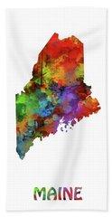 Maine Map Watercolor Hand Towel