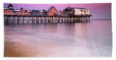 Maine Old Orchard Beach Pier Sunset  Hand Towel