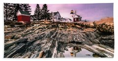 Maine Pemaquid Lighthouse Reflection In Summer Bath Towel
