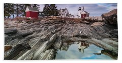 Maine Pemaquid Lighthouse Reflection Bath Towel