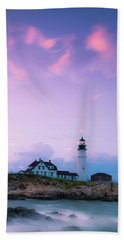 Maine Portland Headlight Lighthouse In Blue Hour Bath Towel