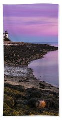 Bath Towel featuring the photograph Maine Prospect Harbor Lighthouse Sunset In Winter by Ranjay Mitra