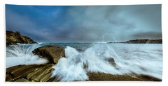 Maine Rocky Coast During Storm At Two Lights Bath Towel by Ranjay Mitra