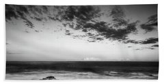 Maine Rocky Coast With Boulders And Clouds At Two Lights Park Bath Towel