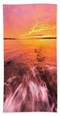 Maine Rocky Coastal Sunset At Kettle Cove Bath Towel by Ranjay Mitra