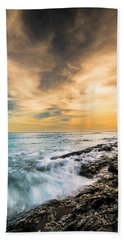 Bath Towel featuring the photograph Maine Rocky Coastal Sunset by Ranjay Mitra