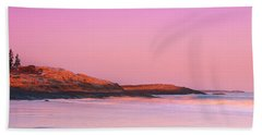 Maine Sheepscot River Bay With Cuckolds Lighthouse Sunset Panorama Bath Towel