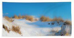 Maine Snow Dunes On Coast In Winter Panorama Bath Towel
