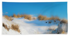 Maine Snow Dunes On Coast In Winter Panorama Bath Towel by Ranjay Mitra