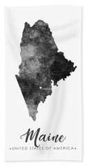 Maine State Map Art - Grunge Silhouette Bath Towel