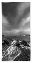 Maine Storm Clouds And Crashing Waves On Rocky Coast Hand Towel