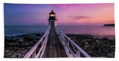 Maine Sunset At Marshall Point Lighthouse Hand Towel