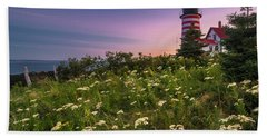 Maine West Quoddy Head Lighthouse Sunset Hand Towel