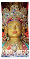 Hand Towel featuring the photograph Maitreya Buddha Statue by Alexey Stiop