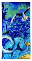 Majestic Bleu Hand Towel by Mona Edulesco